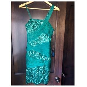 Sue Wong beaded cocktail dress green with tags